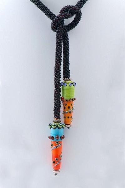 Black Crocheted Lariat Lampwork Beads