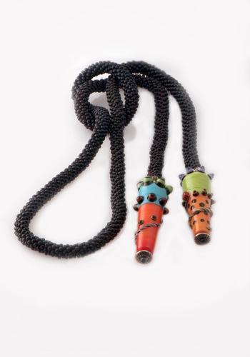 Black Crocheted Lariat, Ellen Black Focal Beads