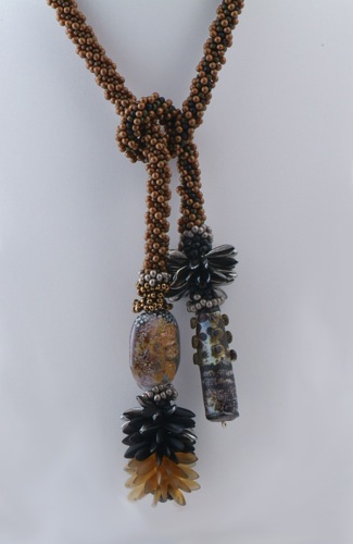 Brown Crochet Lariat Karen Ovington Focal Beads