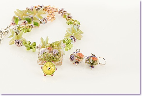 Necklace with pillow floral bead focal